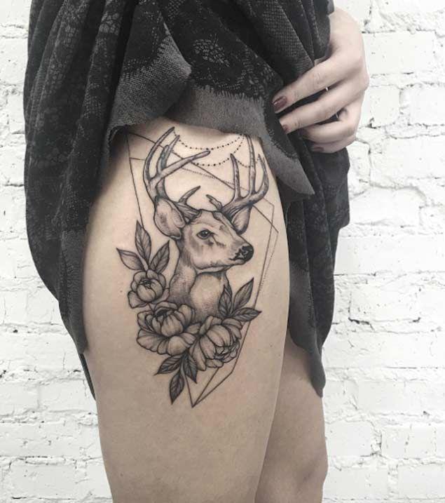 Stag thigh/hip tattoo