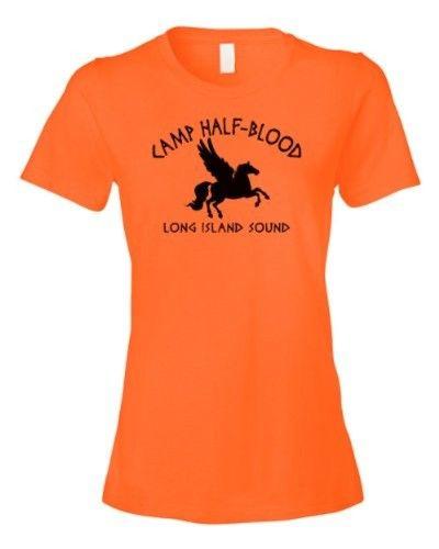 Ladies Tee Camp Half Blood Retro Half-Blood Cool Book T-shirt, Women's, Size: Small, Orange
