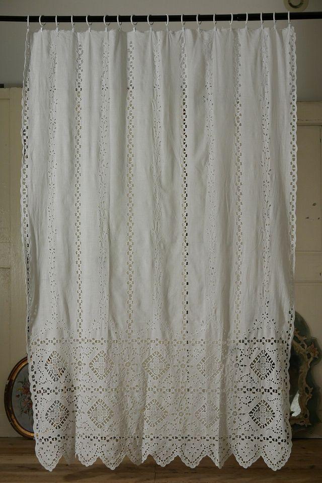 アンティーク カットワークレースのカーテン French Vintage Cutwork Lace Curtain