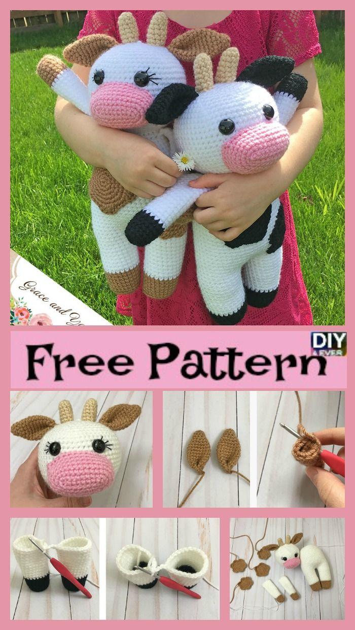 Vaca Crochet Amigurumi - Padrão Livre