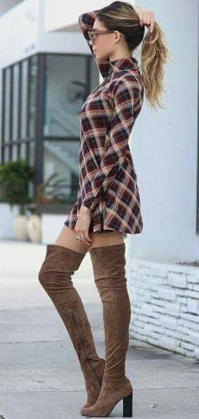 Flannel dress + over the knee boots