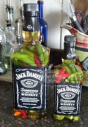 Canning - Home Grown - repurposed bottles for hot pepper vinegar.