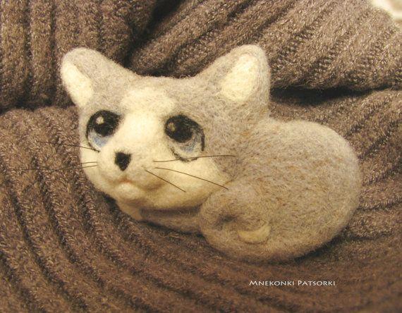 Cat Handmade Felt Brooch Made to Order Needle Felting Kitten