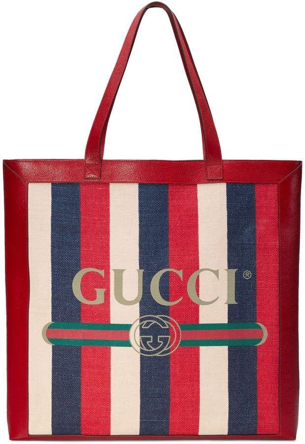 Gucci Stripe Canvas Tote  41aeae090b638