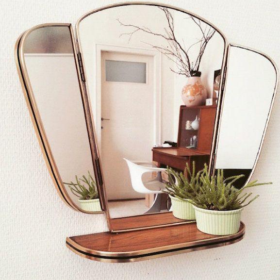 miroir triptyque coquillage vintage brocante compte instagram 13zor rose cadillac blog deco vintage