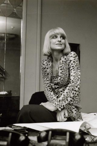 "Barbara Hulanicki .""Circa Seventies in Fitz's office. Biba leopard print jacket with matchy-matchy T-shirt and huge shoulder pads.""  (pin via Vespertine Vintage)"