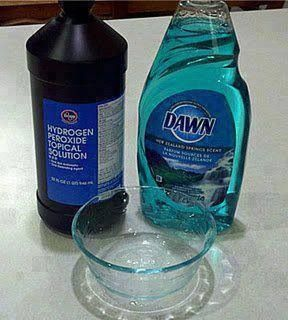 1 tsp Dawn dish soap, 3-4. Tbls hydrogen peroxide, a couple Tbl of baking soda. Apply w/scrubber depending on delicacy of fabric.