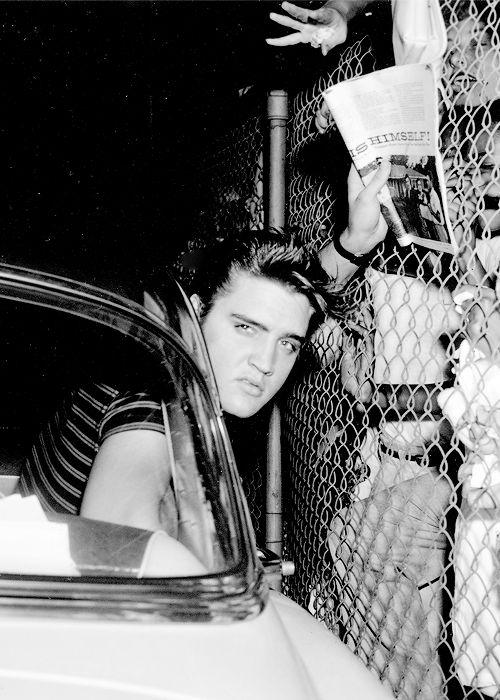 Elvis Presley at the Los Angeles airport, August 16, 1956.