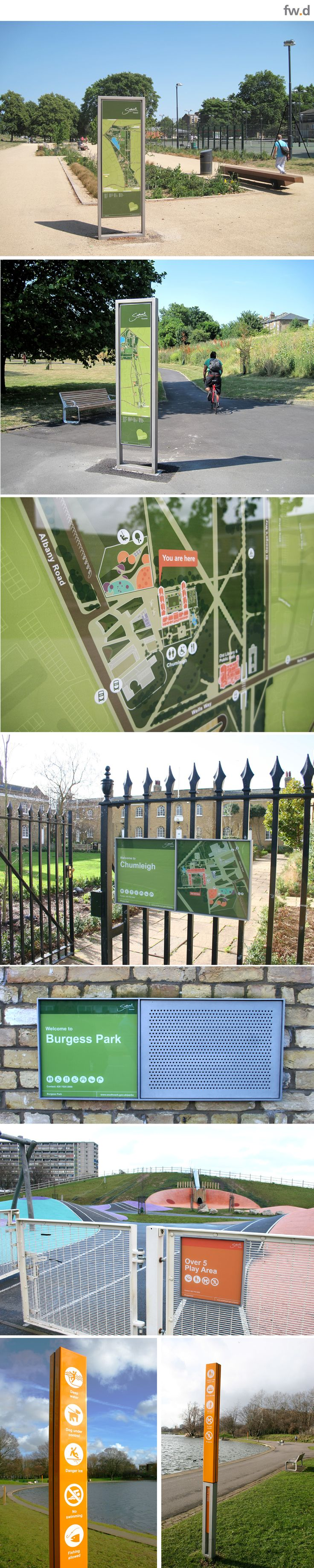 Destination branding & wayfinding provision for Burgess Park by fwdesign. #wayfinding #map #infographics #signage www.fwdesign.com