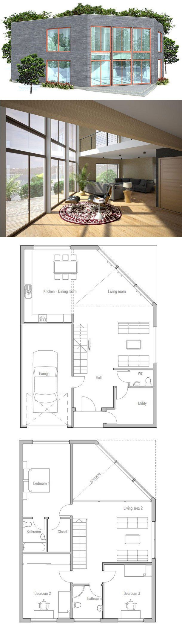 69 best narrow house plans images on pinterest narrow house contemporary home plan to narrow lot in two levels simple lines and shapes spacious