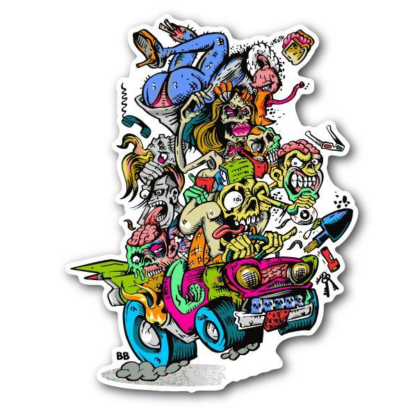 Zombie party car vinyl sticker