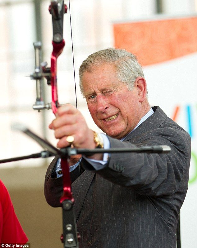 Prince Charles  also tried his hand with a bow on the third day of his visit to Canada