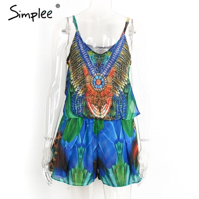Simplee Boho sexy women jumpsuit romper drilling floral print chiffon summer jumpsuit Female bow overalls beach playsuit New