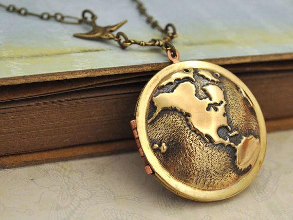 Best 25 vintage locket necklace ideas on pinterest locket vintage locket necklace travel the world globe locket world map locket the gumiabroncs Image collections