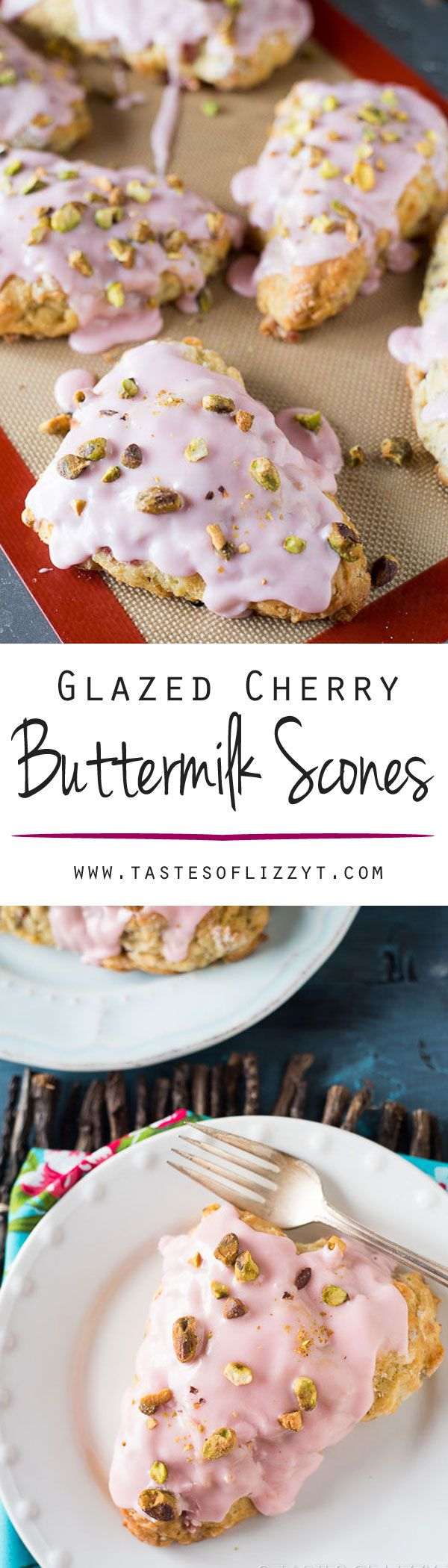 Glazed Cherry Buttermilk Scones. Learn how to make light, buttery, buttermilk scones. These glazed cherry buttermilk scones are topped with salty pistachio nuts.