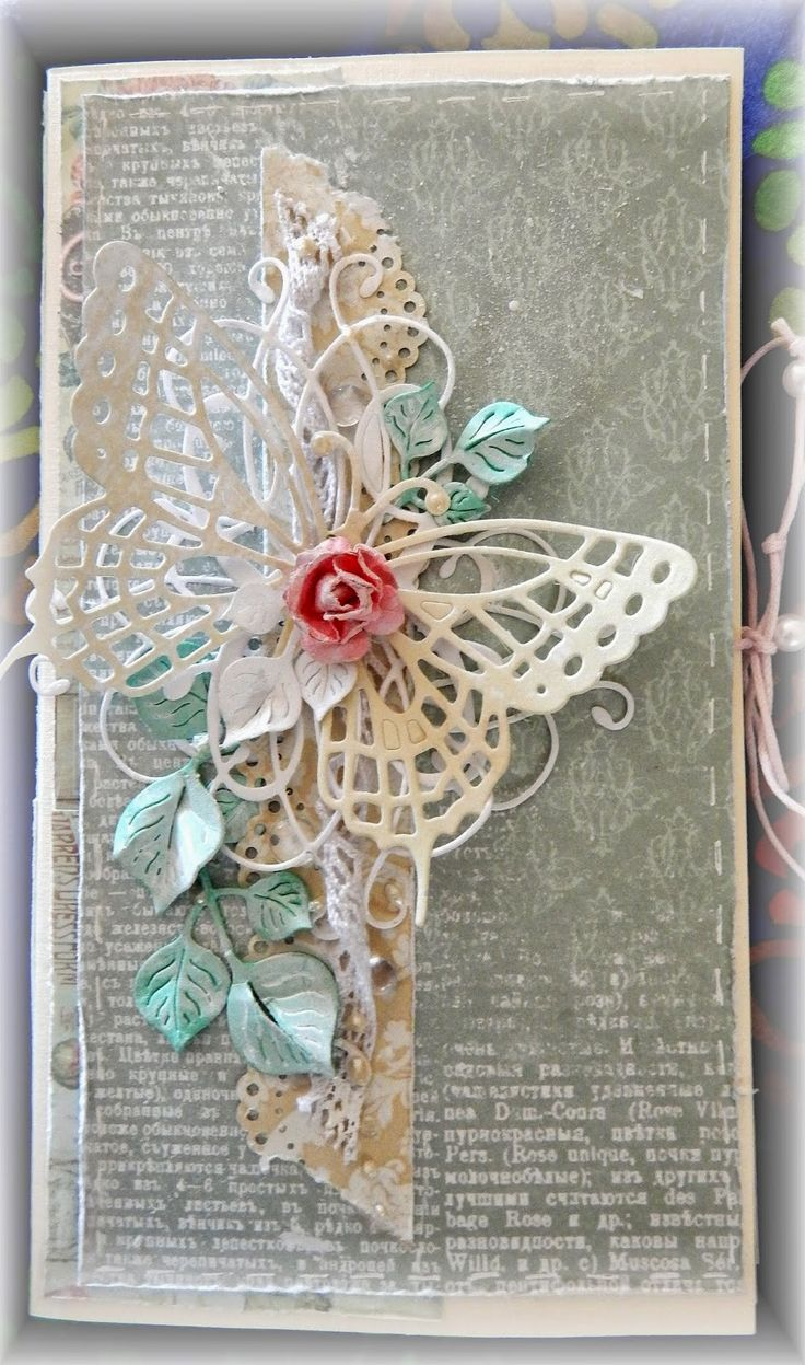 handmade card ... shabby chic ... collage ontage ... lace, leaves, rosebud and die cut lacy butterfly ... tall and narrow format ... delightful