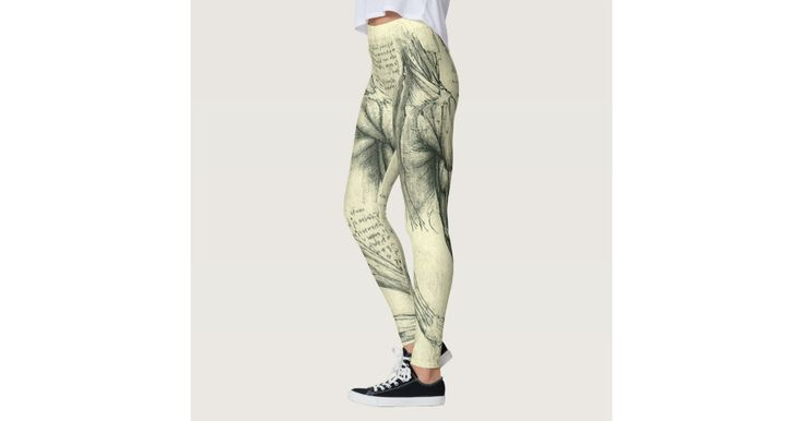 Fun all-over print leggings! Enjoy exercise in these stretchy, comfortable leggings! Or just hang out in style and relax after a long day. Cute everyday stretch pants. Arm and shoulder muscles (c. 1510) by artist Leonardo da Vinci (1452-1519). This drawing or sketch is a vintage Renaissance Era fine art science painting. Human upper body muscle structure including arms and shoulders. Great design for someone in the medical field or just a science geek. Sketches from one of Leonardo da…