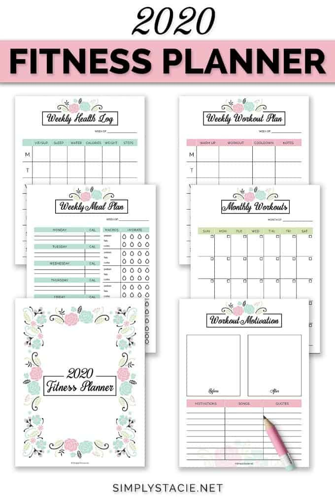 Exercise Planner Printable Template Personalized Workout Plan