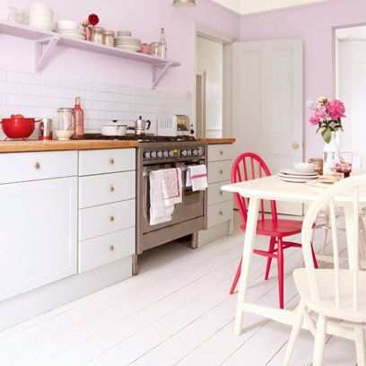 Pastel Pink Kitchen White Painted Floorboards That Home