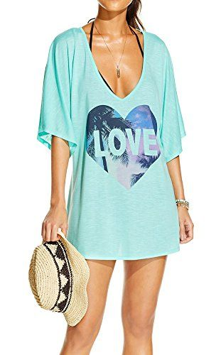 5f3c4e4e4637e  11.99 Womens Letters Print Baggy Swimwear Bikini Cover up Beach Dress T-Shirt  Other categories include diy beach cover up