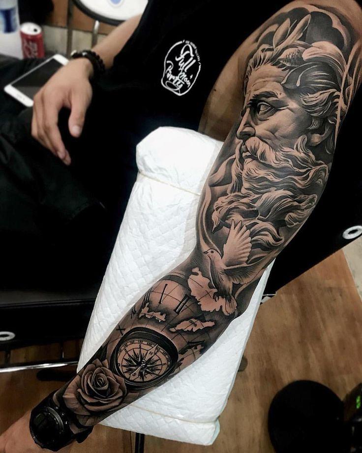 Amazing artist Dode Pras @dodepras_tattoo awesome Poseidon dove clock compass ro…