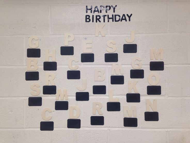 Birthday board.  Children's names and birthdays to be displayed on black label.  The day of their birthday they may remove their letter and decorate it.  Then we will hang it back up on the board.