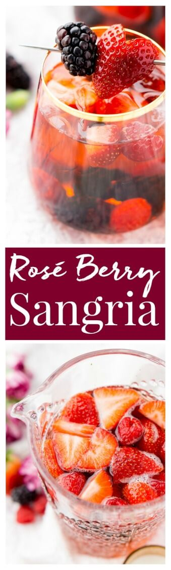 Rosé Berry Sangria is the perfect batch cocktail for Valentine's Day, Bridal Showers, and more! Made with rosé wine, Chambord, blackberry brandy, lemon-lime soda, and fresh berries! via @sugarandsoulco