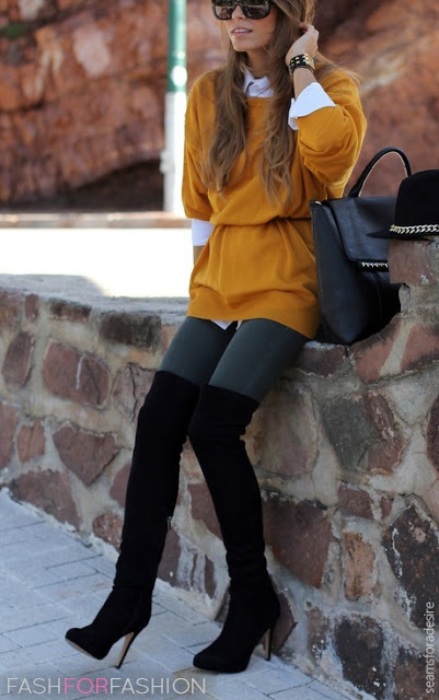 I love the boots and the belted sweater.