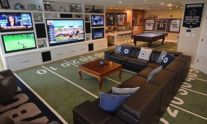Man Cave!... To be honest I would want this.. To watch all my shows at once lol
