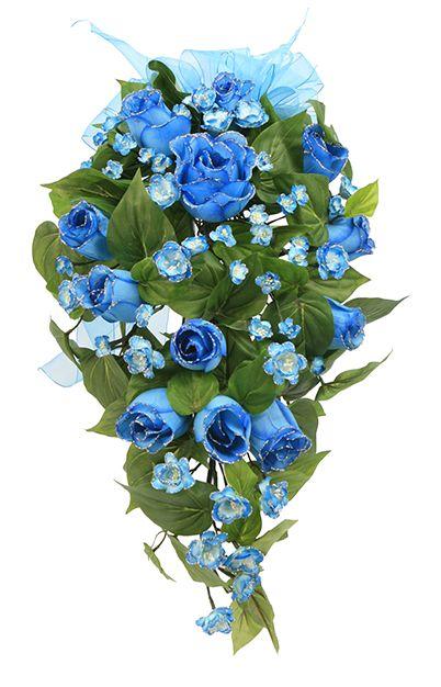 Ramo de flores azules para quinceañera. Arreglo de flores para XV años