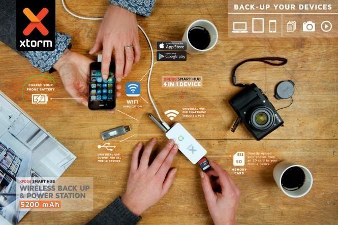 Xtorm Smart Hub to bezprzewodowa stacja łącząca pamięć USB (pendrive, dysk) lub kartę SD ze urządzeniami mobilnymi za pomocą sieci WiFi! Do tego posiada wbudowany akumulator 5200 mAh do zasilania urządzeń przenośnych! / Xtorm Smart Hub is a wireless hub between a USB storage device or SD card and a smartphone, tablet or laptop with WiFi. It also includes 5200mAh powerbank PLN349.99 / $95