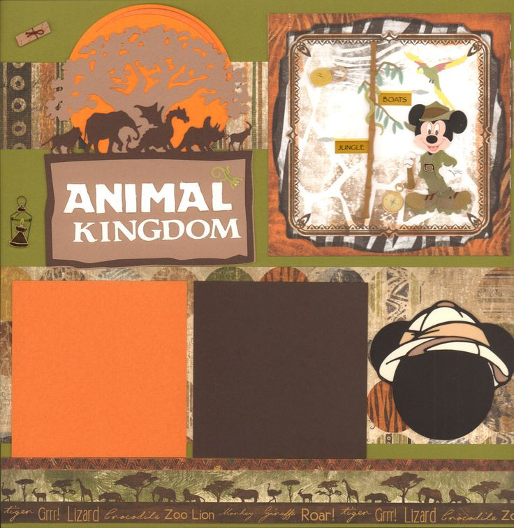 This is a 2 page 12 x12 inch layout kit that includes all you need to complete this kit using Bo Bunny Zoology paper line and EK Success Mickey Safari sticker and die cuts by PPBN designs