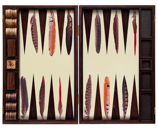 Don't know how to play it, but it'd look great on my coffee table! Pheasant backgammon set by Alexandra Llewellyn