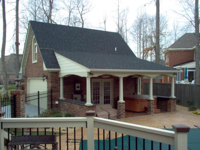 Garage pool house combos 20 39 x24 39 super custom full brick for Detached garage pool house