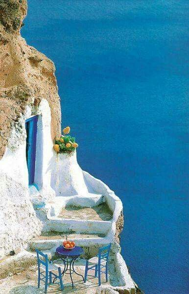 Cave house carved into the Caldera cliffs of Santorini                                                                                                                                                      More