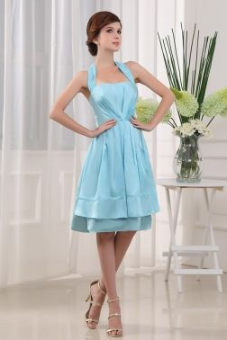 halter knee length bridesmaid dress