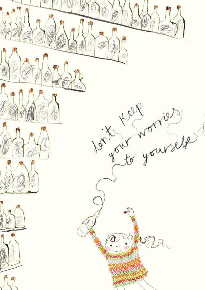 No guardes tus preocupaciones solo para tí mismo. (Ilustración de Rebecca Cobb).