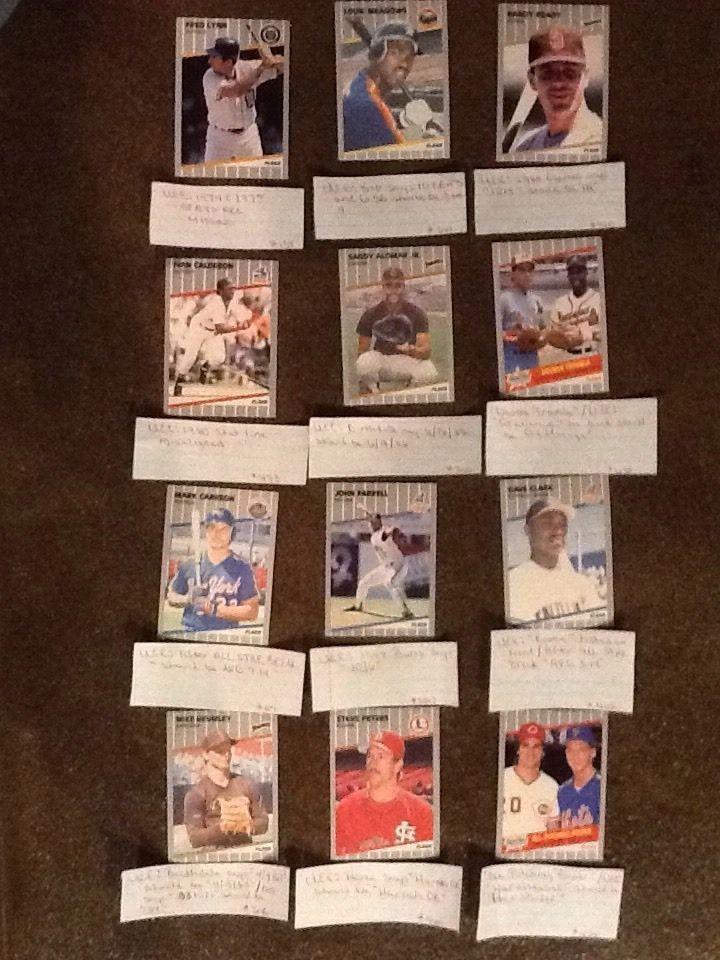 Set Of 12 1989 FLEER Error Baseball Cards