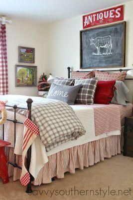 farmhouse bedroom ready for Christmas