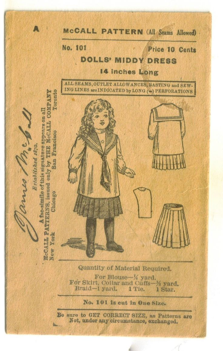 Advertising Trade Card McCall's Doll Dress Pattern | eBay