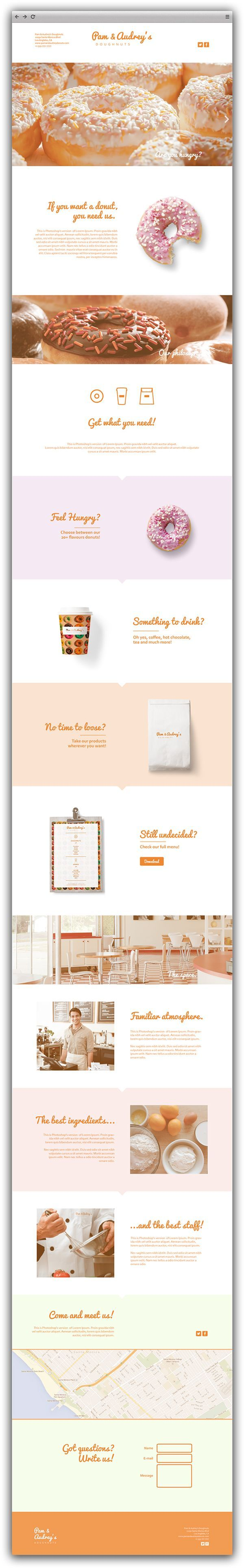 Pam & Audrey's Doughnuts - One Page Website Concept
