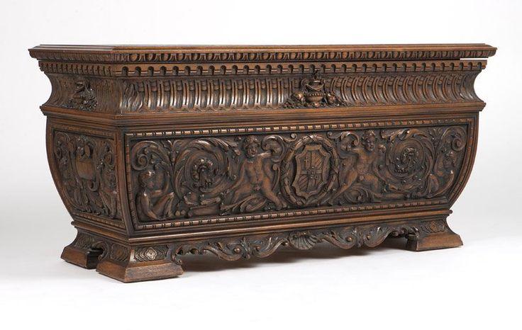 An Italian baroque style carved walnut cassone : Lot 1174