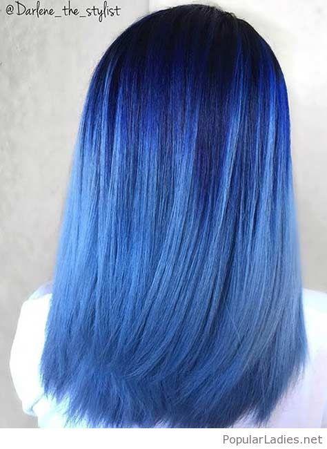 Wonderful blue tones hair color
