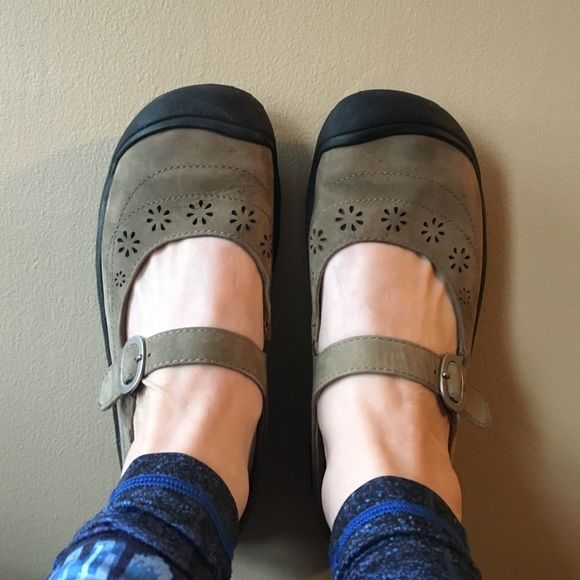 Keen sage green Mary Jane mules Cute, cute, cute Mary Jane Slip-on Keens.  They are a sage green color with a buckle for the strap and flower cutouts.  EUC.  Size US 8.5, EUR 39 Keen Shoes Mules & Clogs
