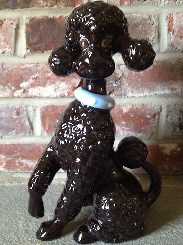 Vintage Ceramic Poodle Hand Made Black Poodle Dog
