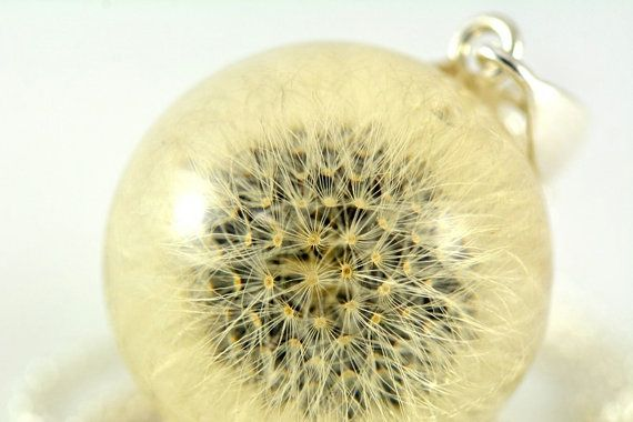 Dandelion Pendant Resin Silver Pendant Pendant with by Caldesia