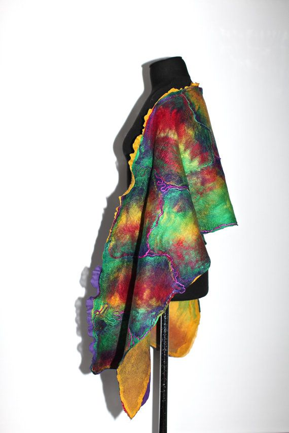 Nuno Felted Textured Scarf Felted Wrap by FeltedPleasure on Etsy, $135.00
