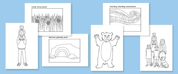 going on a bear hunt coloring pages - we re going on a bear hunt colouring sheets 1st grade