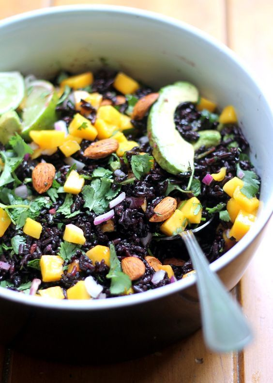 Mango & Avocado Black Rice Salad with Cilantro-Lime Vinaigrette {healthy, gluten free, vegan}
