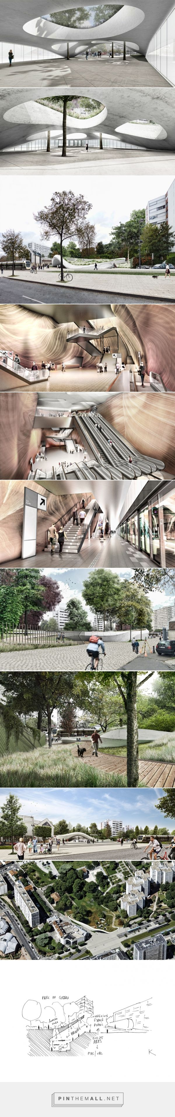 atelier king kong to build concrete canopy over vitry center metro station in france - created via http://pinthemall.net